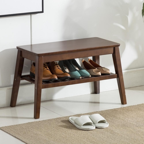 Shoes Rack Bench Storage Shelf Side End Table Pure Wood 25.6inch Walnut