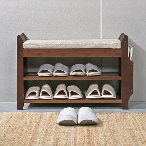 Shoe Bench Rack Organizer with Storage Side Drawer Bamboo Removable Cushion Seat for Entryway Hallway Living Room Bathroom-29.5in