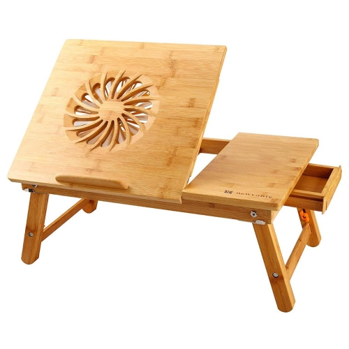 Laptop Tilting Desk with USB Fan, Bamboo