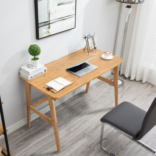 "Nnewvante Writing Computer Desk 46"" Bamboo Home Office Table with 2 Drawers,Modern Furniture Simple Study Makeup Workstation"
